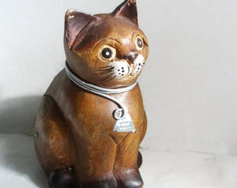 Friendly Kitty. Wooden cat figure vintage figurine. Sitting with metal collar, Wood. Feline lover, gift, decor. Adorable, charming, too cute