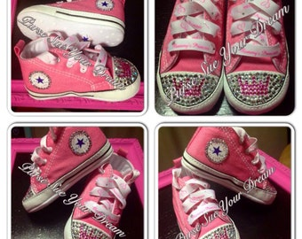 Princess Swarovski Crystal Rhinestone Converse - Custom Baby Shoes - Pageant Shoes - Baby Shower Gift - Pageant Shoes - Swarovski Crystals