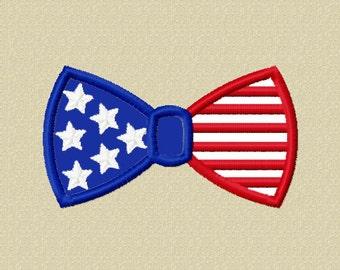 Instant Download Flag Bow Tie Applique Embroidery Design NO:1522