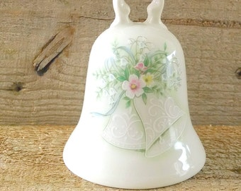 Noritake Porcelain Bell Ivory Wedding Dinner Bell Green and Pink Floral Wedding Collection 1973