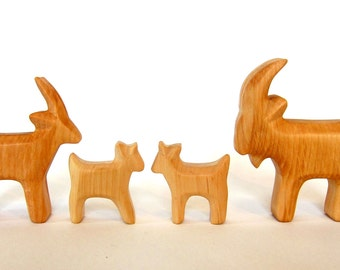 Goat family, Handcarved, wooden animals, All Natural Toys