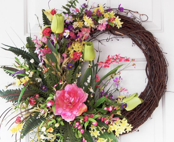 Items Similar To Pink Lime Green Grapevine Wreath Easter