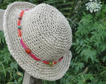 Hand Crochet Hat Short Brim Crochet Hemp Hat,Woman Crochet Hemp Summer Hat , Summer Hat Women's,Crochet Woman Sun Hat , Natural Hemp Hat N76