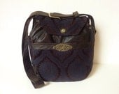 "Steampunk Boho Gypsy Medieval Brocade Bag Purse ""Dubh"" Distressed Faux Leather Crossbody Gothic Renaissance Brown Black Hippie 70s Vintage"