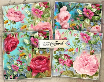 Flower Coaster - 4 x 4 inch - set of 4 cards - digital collage sheet