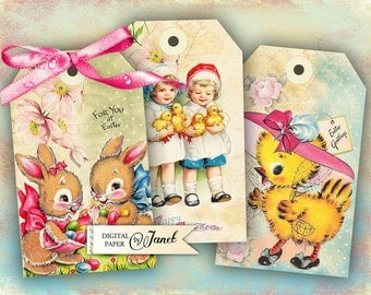 Easter Tags - digital collage sheet - set of 6 - Printable Download