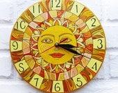 The Yellow Sun Wall Clock Home Decor for Children Baby Kid Boy Girl Nursery Playroom