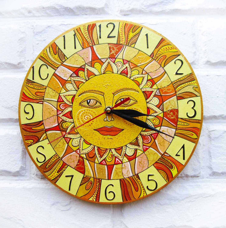 Yellow Sun Wall Decor : The yellow sun wall clock home decor for children baby kid