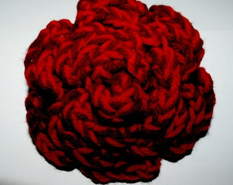 Pretty and Unique Large Red and Burgundy Striped Rose Flower Pin/Brooch/Accessory