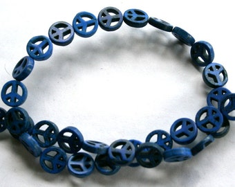 10 mm Lapis Blue Peace Sign Turquoise, Magnesite Beads