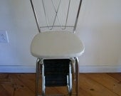 Vintage Mid century White and Chrome Kitchen Step Stool and Seat