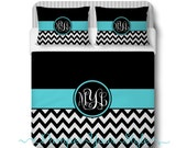 Custom Designed Chevron-Aqua and Black Bedding, Duvet or Comforter, Personalized, Design Your Own Bedding - Cirlce  Monogram Bedding