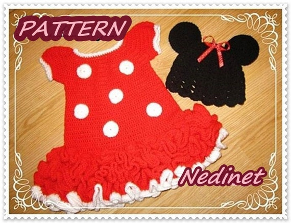 Crochet Baby Dress Pattern Minnie Mouse Dress And Hat Set