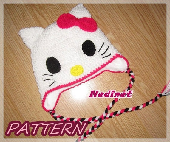 Crochet Kitty Cat Hat Pattern : Kitty Cat crochet hat PATTERN by NedinetPattern on Etsy