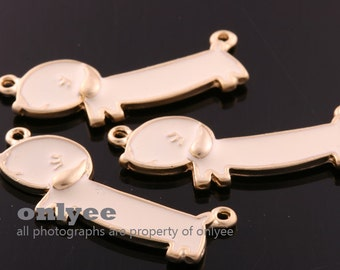 2pcs-30mmX11mmMatte Gold plated over Brass Epoxy cute Dog,Pendants,Connenctor(K1190G)