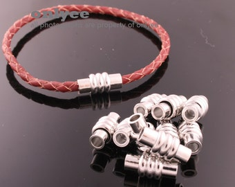 2Set-16mmX4mmSilver Magnetic Clasp for use 3mm Leather Braided Leather for jewelry making supplies(K677S)