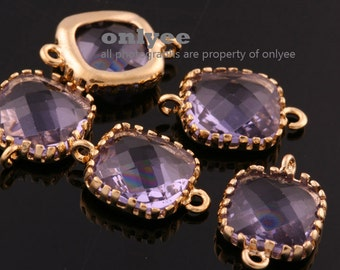 2pcs-9mmX9mm Gold plated Brass Faceted Square Glass Connectors-Amethyst(M310G-F)