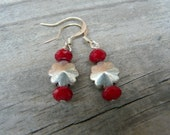 Poinsettia Earrings.  Silver Flower and Red Beaded Dangle Earrings.  Gift for Her.