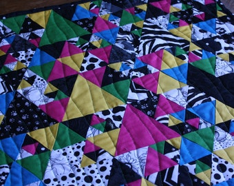Triangle Modern Art Quilt ; Bright Quilt ; Colorful Triangles ; Scrappy Quilt ; Textile Art ; Solid Fabrics Quilt ;  Black White Quilt