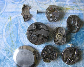 Vintage Jeweled Watch Parts Steampunk Assemblage Watch Works Jewelry Supplies