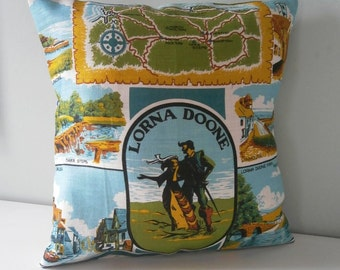 vintage Lorna Doone Souvenir Cushion / Pillow cover Upcycled Teatowel