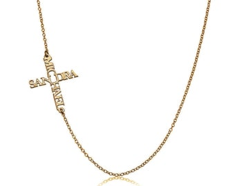 Sideways name cross necklace - personalized with names - sterling silver plated in 18k gold Name necklace