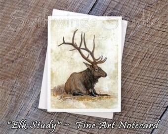 Wildlife Note Cards - Wild Elk Note Cards - Wildlife Greeting Card - Wild Elk Prints - Southwestern Wildlife Art - Bull Elk Print