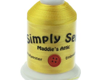 100% Polyester Yellow (Brother Color 205) Embroidery Thread - 1100 Yards