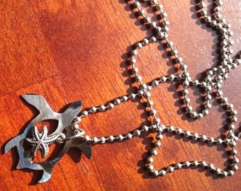 Recycled Steel Turtle Ball Chain necklace