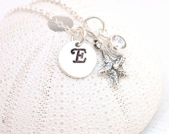 Dainty Sterling Silver Starfish Necklace - Hand Stamped Initial Pendant with CZ - Personalized Beach Jewelry