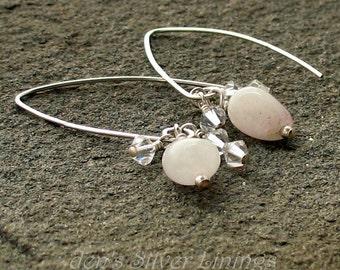 Bridal Earrings, Sterling, Pink Quartz, and Swarvoski Crystal Handmade Earrings on Long Artisan Handcrafted Ear Wires