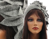 Artsy boho womens fall winter hat, grey wool hat cap, soft boiled wool grey hat with leaves at the side / size L - stretched up to XL