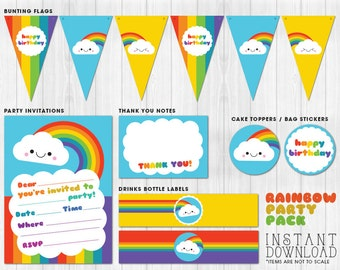 Rainbow Party Pack Printables // Digital files to print