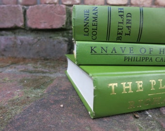 Bright Olive Green Vintage Books / Book Decor / Decorative Books / Instant Library / Home Decorating/Wedding Decor/Old Books/Photo Prop
