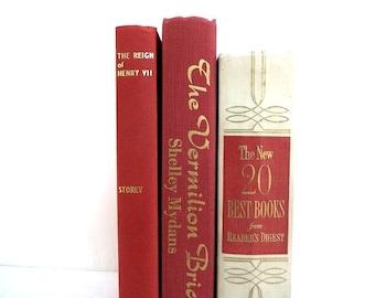 Three Vintage Books / Book Decor / Red Vintage Books/ Decorative Books/ Instant Library /Old Books/ Home Decor/Photo Prop/Wedding Decor