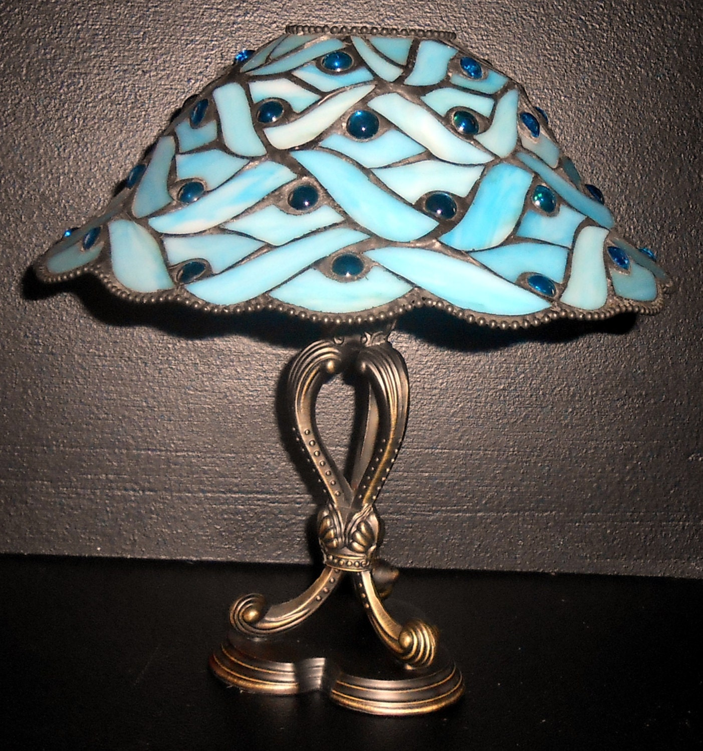 Vintage Candle Holder Party Lite Tiffany Style Lamp Blue