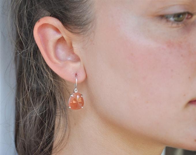 Pink Moonstone--Sterling Silver Earrings---Moonstone Earrings--Peach Earrings