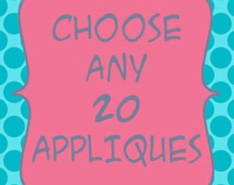 Iron-On Appliques - Set of 20 for DIY tees or baby shower craft