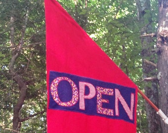 """SHOP owners , hang this eye catching original """"Open""""  flag"""
