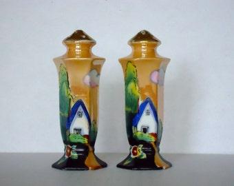 Vintage Art Deco Style Hand Painted Lusterware Salt and Pepper Shaker Set