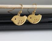 NEW Pretty birds earrings, small gold earrings, simple everyday jewelry
