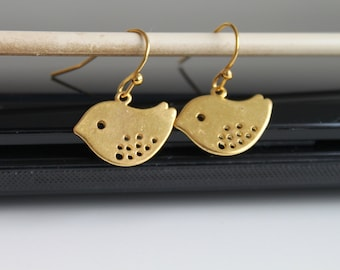 NEW Pretty birds earrings, small gold earrings, simple everyday jewelry