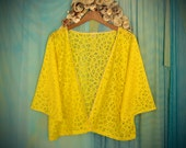 Lace Bed Jacket / Yellow Robe / Coverup - One size fits most / Vintage Inspired / Handmade /