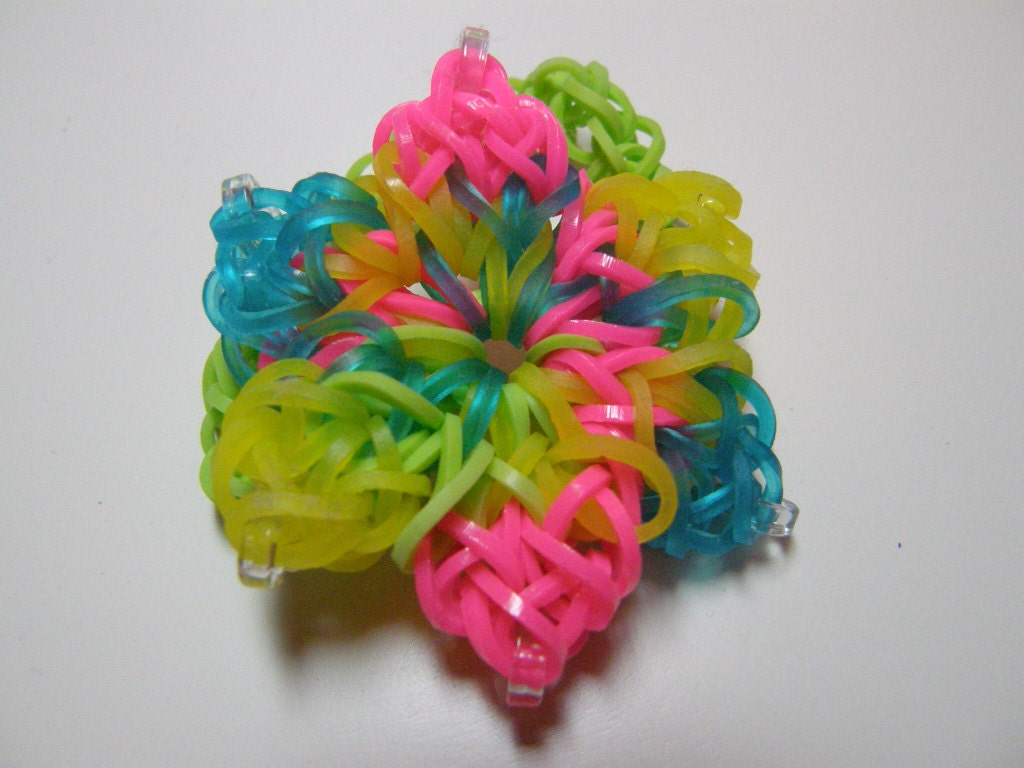 items similar to rainbow loom hibiscus flower bracelet on etsy