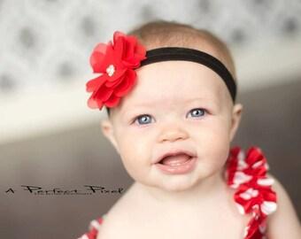 Red Flower Baby Headband, Chiffon Flower Baby Headband, Pearl Headband, Baby girl, Flower Baby, Photo Prop