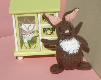 Brown Easter Bunny, Knit Bunny, All Handmade, Soft Baby Toy, Ready to Ship, Gift Under 15 Dollars