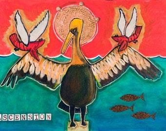 Louisiana Pelican Rising Art Print-- Ascension, by Gator Girl