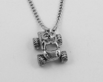 Pewter Monster Truck Charm on Link Chain Necklace - Free Shipping to US - (5418)