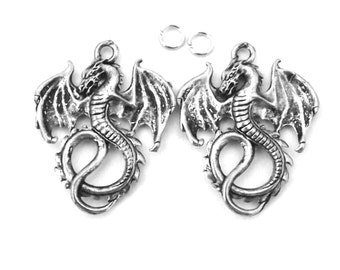 2 Pewter Dragon Charms - 5052