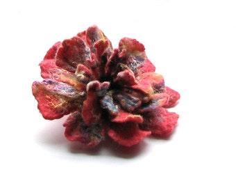 Felted Flower  Felt Brooch  Flower Pin Gift for her Handmade PINK Flower  Gift Ideas Boho Winter Accessories